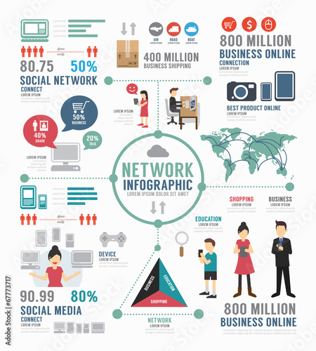 Photo  Infographic social network template design . concept vector.