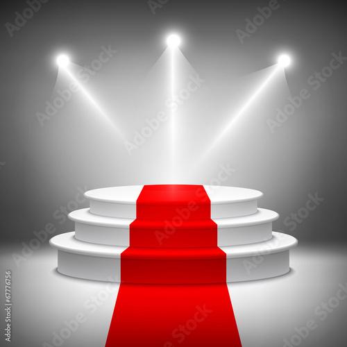 Fotografiet  Illuminated stage podium for award ceremony vector