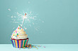 canvas print picture - Celebration cupcake with sparkler