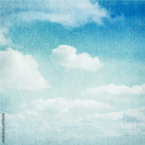 Watercolor clouds and sky background