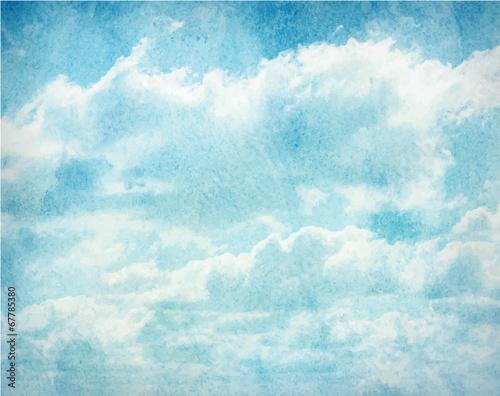 akwarela-chmury-i-niebo-w-tle