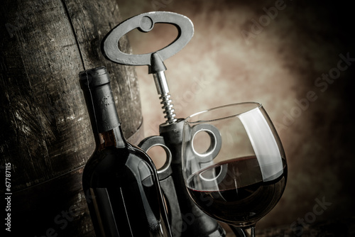 wine glass bottle and barrel Plakat