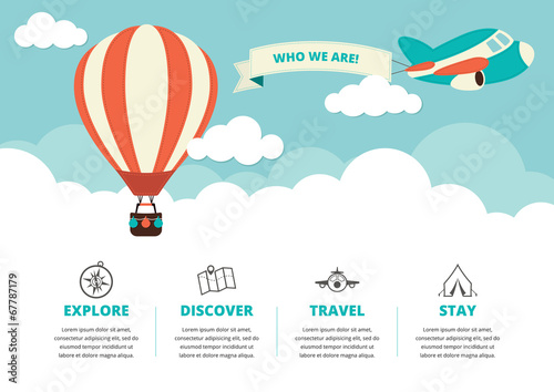 Fotografia, Obraz Website Layout with Travel Icons