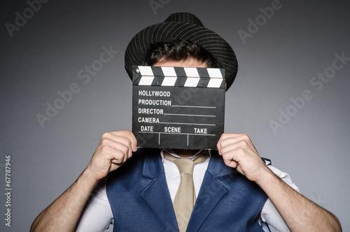 Fotografie, Obraz  Funny man with movie clapper