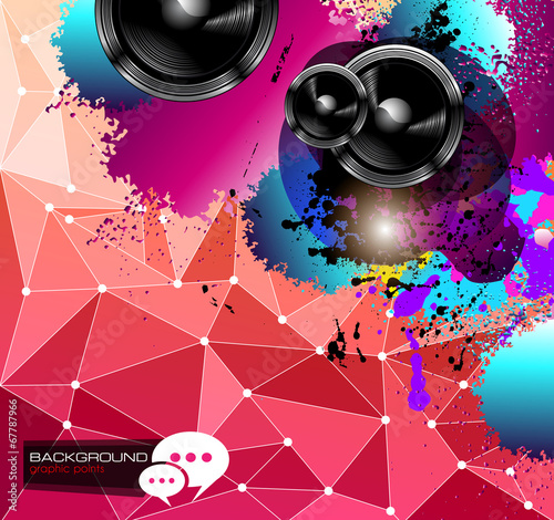 Keuken foto achterwand Art Studio PArty Club Flyer for Music event with Explosion of colors