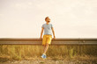 Handsome man outdoors portrait with a retro vintage instagram fi