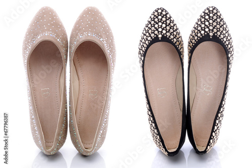 Obraz Collection of comfortable shoes for women on white background - fototapety do salonu