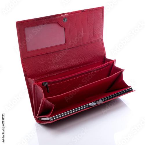 Fototapeta Women's red leather wallet on a white background obraz
