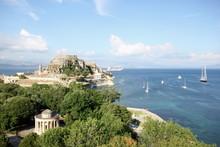 Castle Old Fort And Rotunda In Corfu A Greek Island In Blue Mediterranean Sea