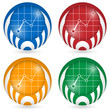 set of four icon with graph