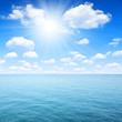 Blue sea with sunny sky