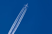 A Long Trail Of Jet Plane On B...