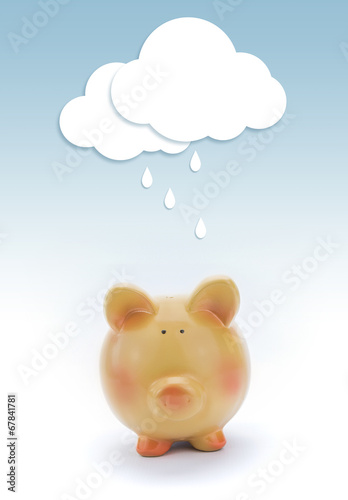 Piggy bank with paper cloud and rain above. Poster