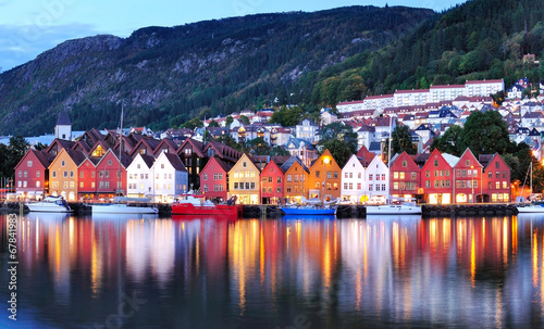 Photo  Bergen night view Cityscape reflection