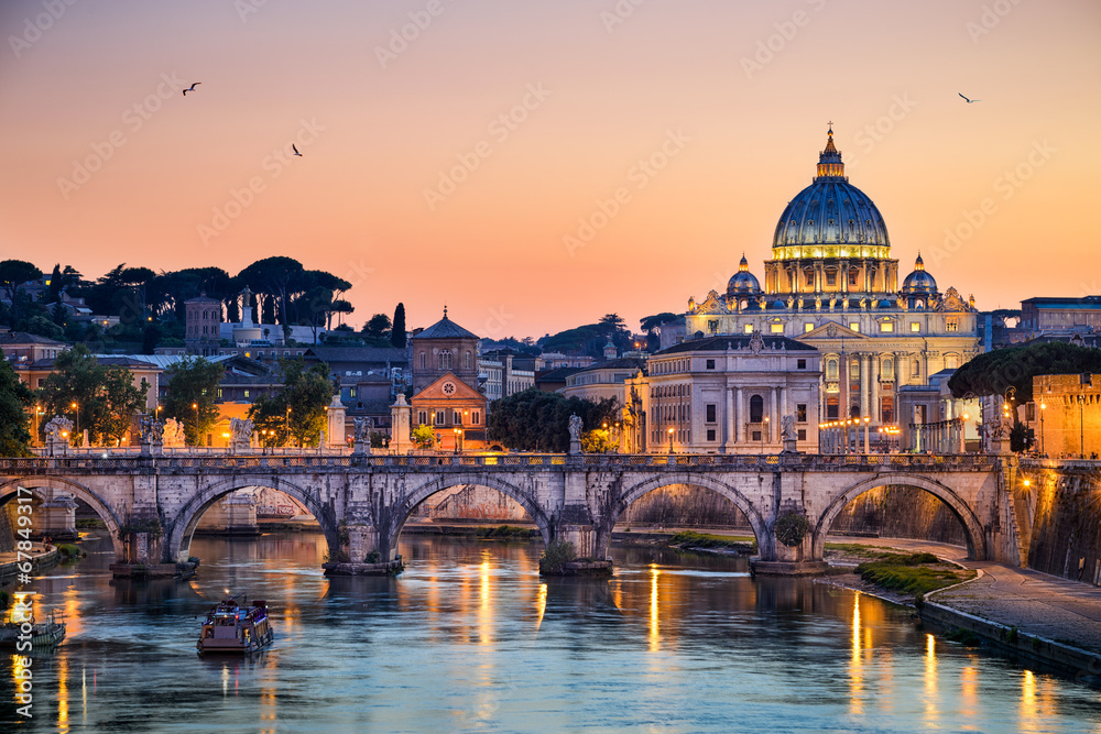 Fototapeta Night view of the Basilica St Peter in Rome, Italy