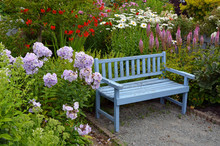 Blue Wooden Garden Bench