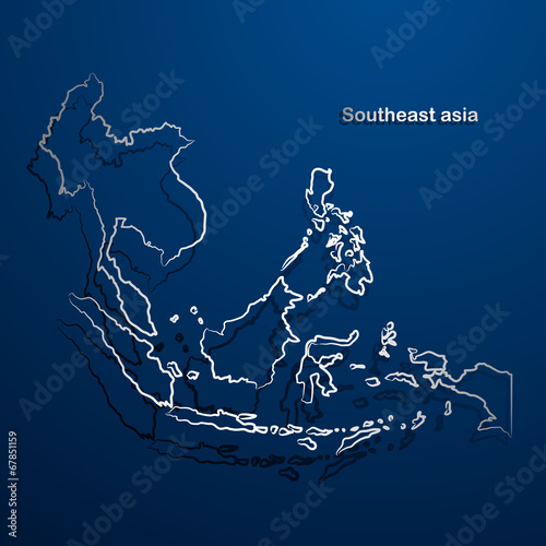 Fotomural Southeast asia  map hand drawn background vector,illustration