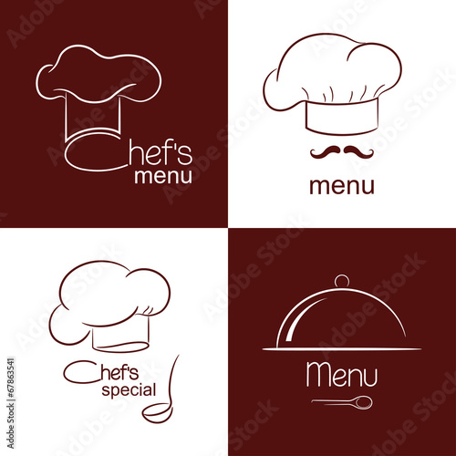 Set of icons and emblems for restaurant menu design Wallpaper Mural