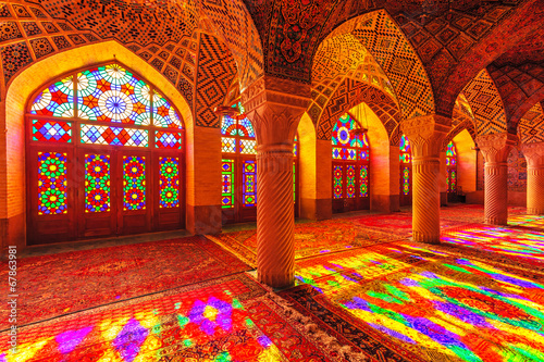 Fotografie, Obraz  An Interior view of Nasir Al-Mulk Mosque in Shiraz, Iran