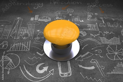 Composite image of yellow push button Canvas Print