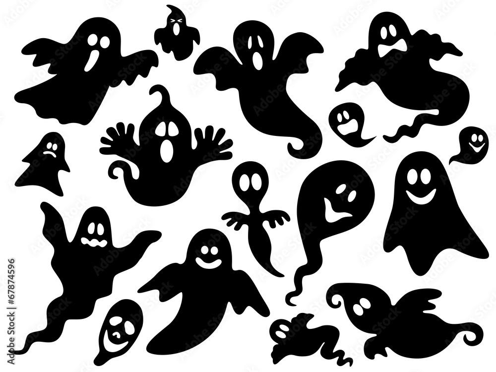 Photo & Art Print Schwarz-weiß Set mit Halloween Geistern – Vektor ...