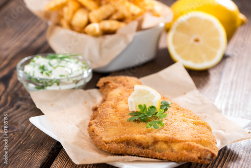 Fried Plaice with Chips Fototapet