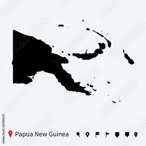 Fototapeta High detailed vector map of Papua New Guinea with pins.