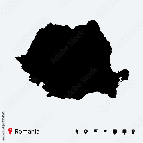 High detailed vector map of Romania with navigation pins