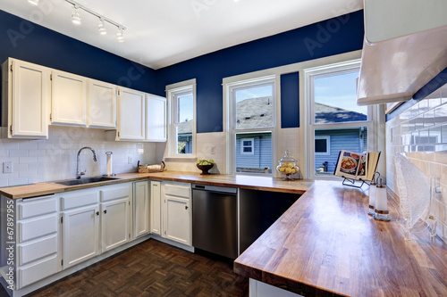 Valokuva  Kitchen interior in bright navy and white colors