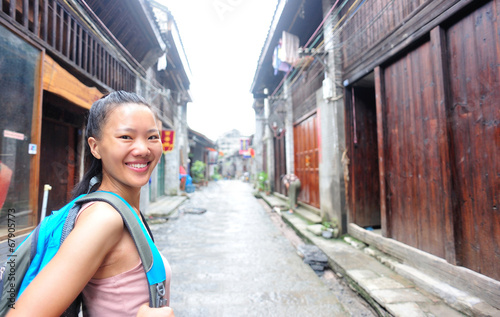 woman tourist at xingping ancient town in guilin ,china