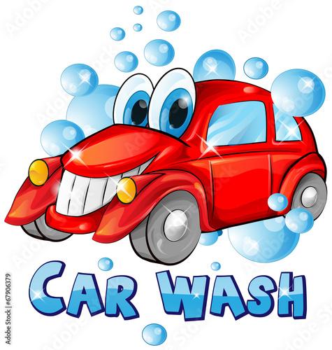Staande foto Cartoon cars car wash cartoon