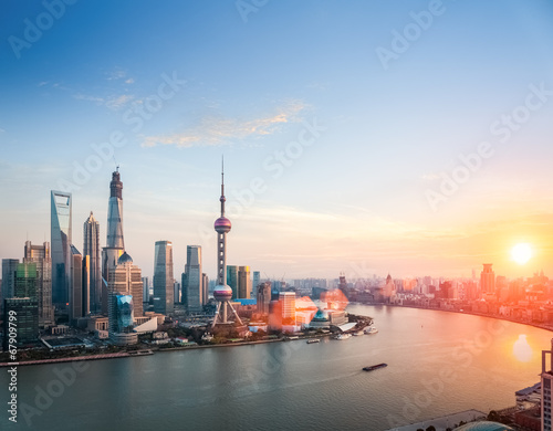 Photo  beautiful shanghai  in sunset