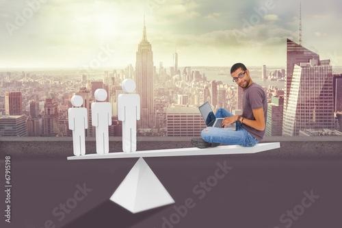Foto op Aluminium Kuala Lumpur Scales weighing hip man using laptop and stick men