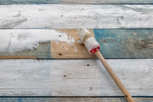 White Wood With Paint Brush