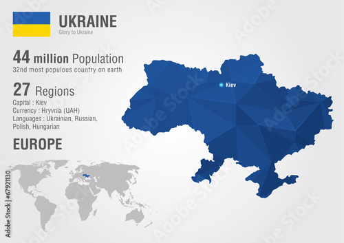 Photo Ukraine world map with a pixel diamond texture.