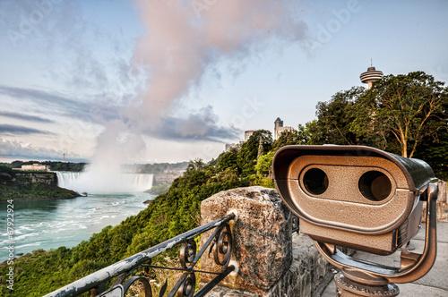 Küchenrückwand aus Glas mit Foto Wasserfalle Viewing telescope and niagara falls