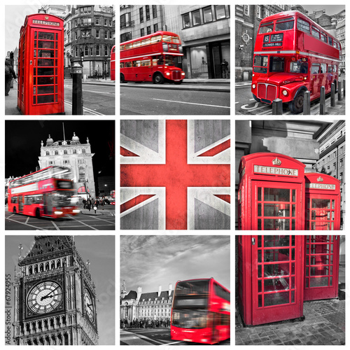 Poster London London photos collage, selective color