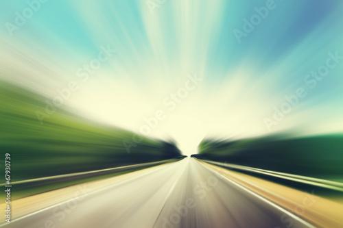 obraz PCV Droga asfaltowa w motion blur.