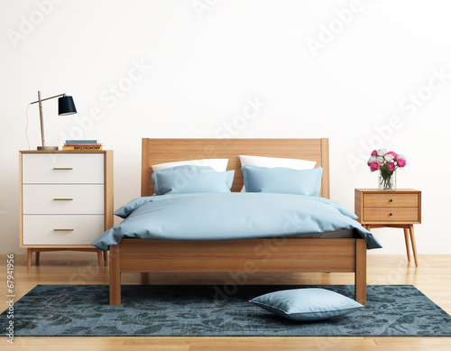Fototapety, obrazy: Contemporary elegant light blue bedroom with eug