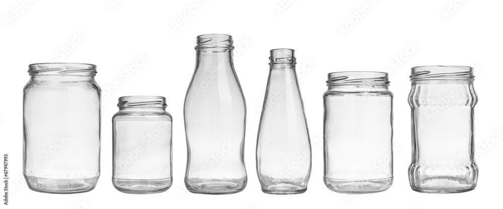 Fototapeta set of empty jar isolated on white background