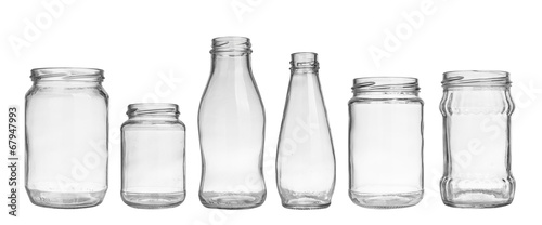Fotografía set of empty jar isolated on white background