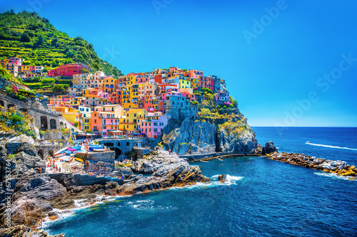Poster Mediterraans Europa Beautiful colorful cityscape