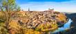 Toledo sunset panorama with river Tajo, Castile-La Mancha, Spain