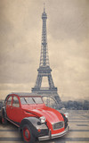 Fototapeta Wieża Eiffla - Eiffel Tower and red car with retro vintage style filter effect.