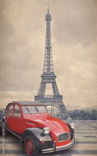 Eiffel Tower and red car with retro vintage style filter effect.