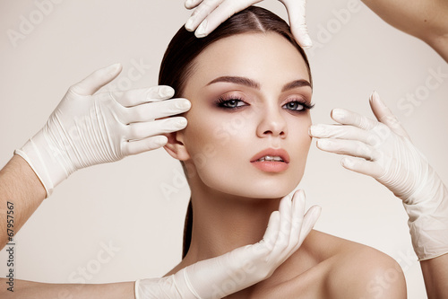 Fotografie, Obraz  Beautiful  Woman before Plastic Surgery Operation Cosmetology. B