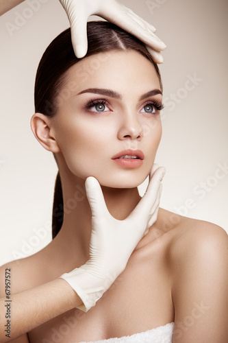 Poster  Beautiful  Woman before Plastic Surgery Operation Cosmetology. B