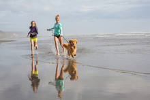 Kids Running With Dog At The Beach