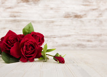 Rose Flowers, Red On Wooden Grunge Background, Floral Card