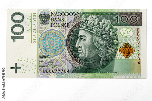 Fotografía Cien billetes de banco del pln del pulimento zloty en el fondo blanco
